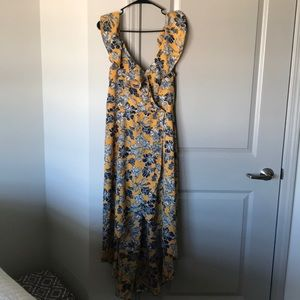 Hi low yellow and blue floral dress.